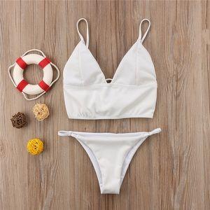 Other - White ribbed lace back cropped bikini set